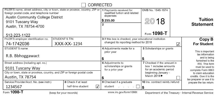 1098-t Tax Form Example on blinn college 1098-t form, 1098 education form, statement of interest form, triton college 1098-t form, printable 2012 1098 form, mortgage interest form, 1098 mortgage form, 1098 blank form, loan form, 1098 interest form, kaplan university 1098-t form,