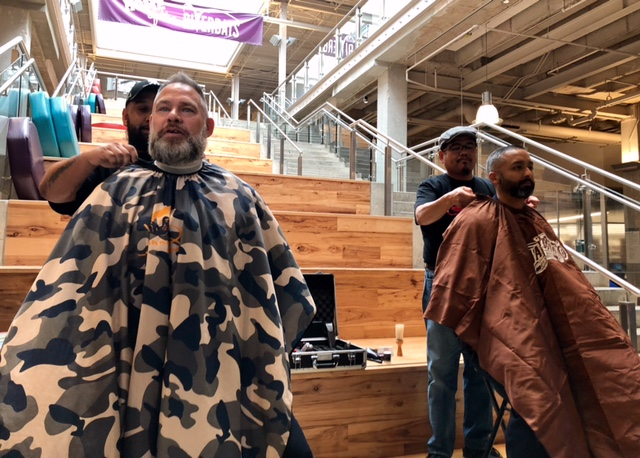 ACC officers about to get shaved after participating in Beard It Up