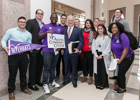 Community College Day students with Kirk Watson