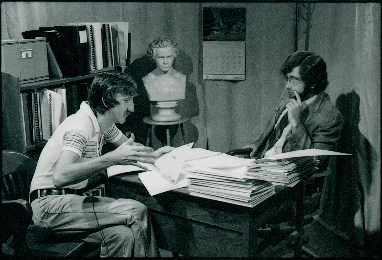 Wilkerson (left) and former faculty member Lennis Polnac acting out a skit for teaching English composition. The instructional series was called Ask Prof. English.