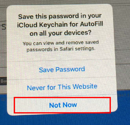 "It will ask you to save the password to your iCloud Keychain, click ""Not Now"""