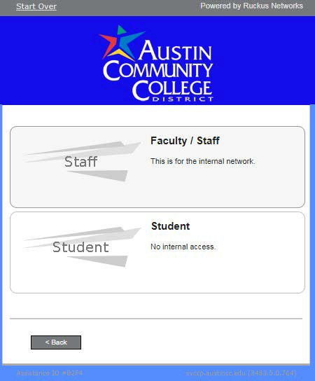 Choose Faculty/Staff or Student