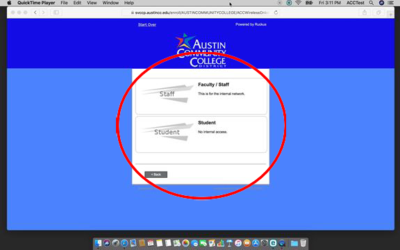 "You will be given two options, ""Faculty/Staff"" and ""Student""Click ""Student"". Click the appropriate link."