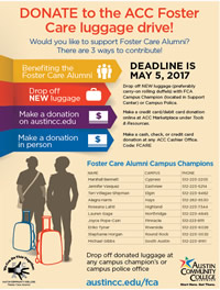 Luggage drive for foster care alumni underway; donate by May 5