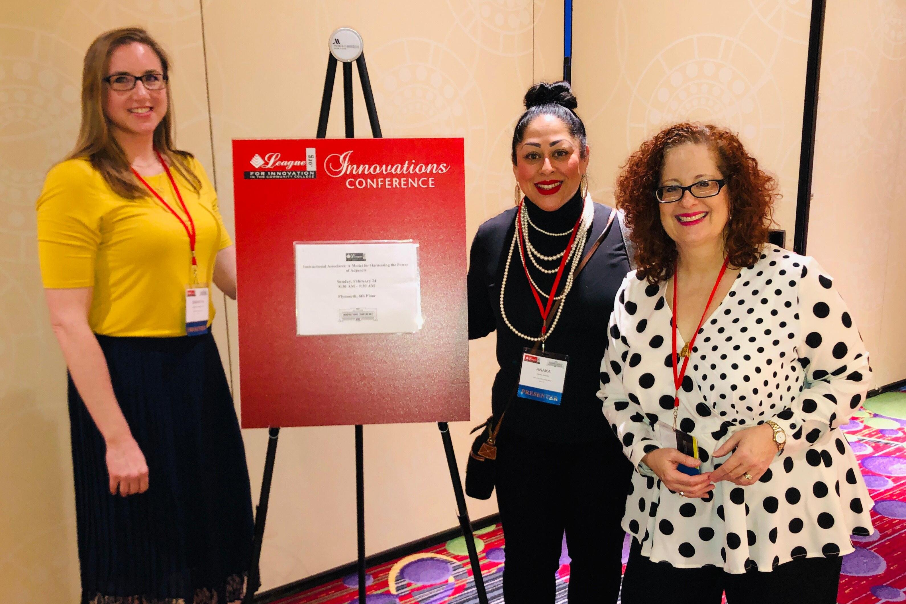 ACC Instructional Associates Susan Meigs, Anaka Rivera, and Samantha Soebbing at the National League for Innovation Conference.