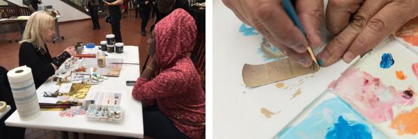 Adjunct Art professor Jill Bedgood painted band-aids for her Match Natural interactive art project.