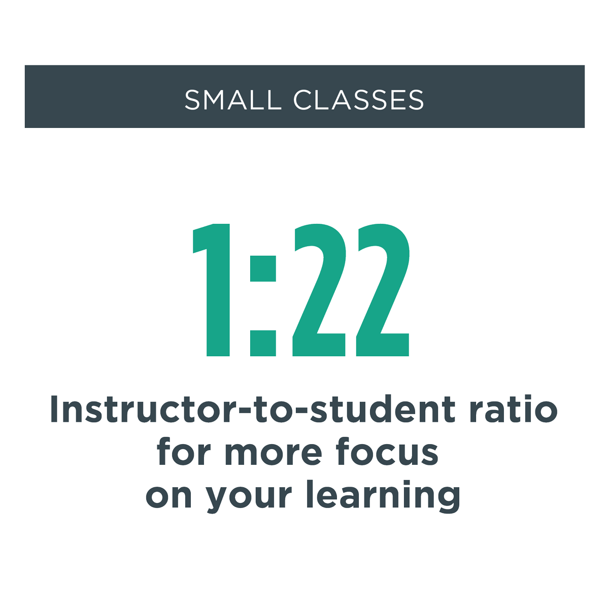 small classes - Instructor-to-student ratio provides more focus on your learning