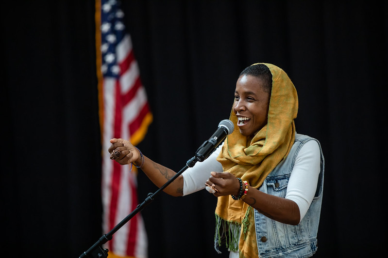 Fatima Mann performs spoken word at National Day of Racial Healing.