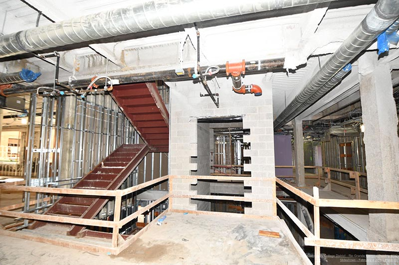 Rio Grande Campus historic renovations - elevator and stairs