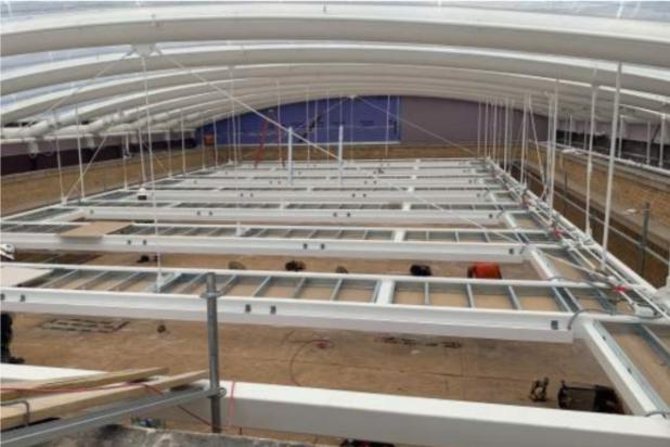 Rio Grande Campus Renovations - Drywall acoustical panel install north atrium