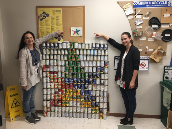 Service Center employees took part in a Canstruction event to collect cans for Student Life's 2019 Spring Food Drive.