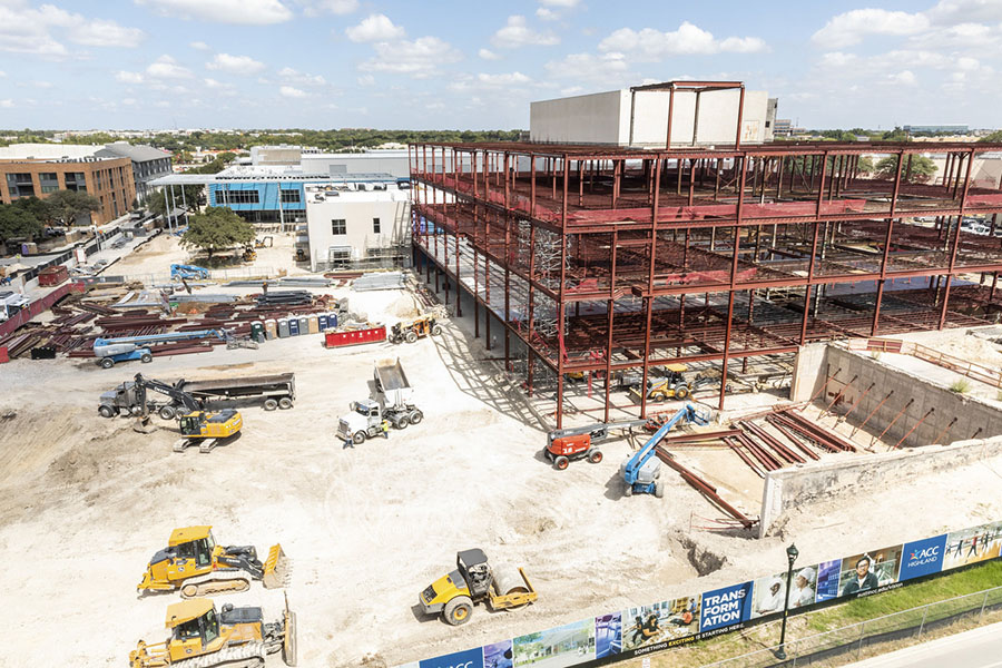 Construction on building 3000 at ACC Highland Campus.