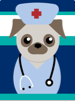 Illustrated puppy dressed in medical scrubs