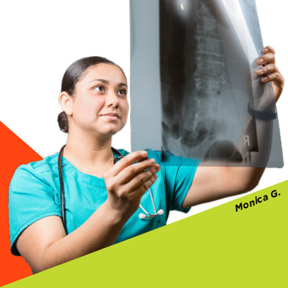 ACC Student Monica G. examoines an X-Ray