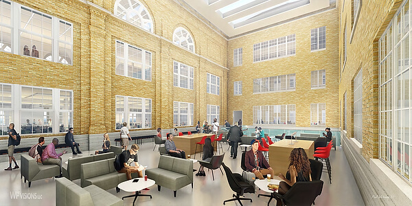 Artist rendering of campus building interior.