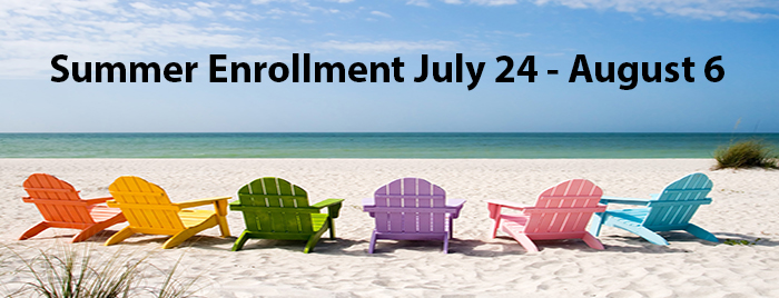 An image of beach chairs in sand overlooking ocean. A reminder that Annual Enrollment for Health benefits.