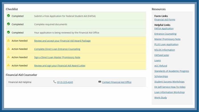 Check Financial Aid Status