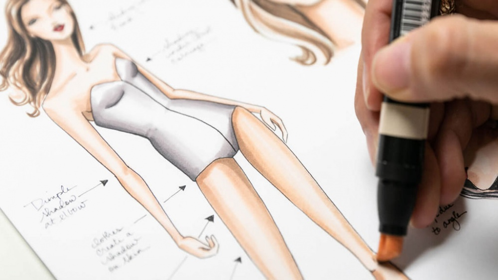 Fashion design student sketch