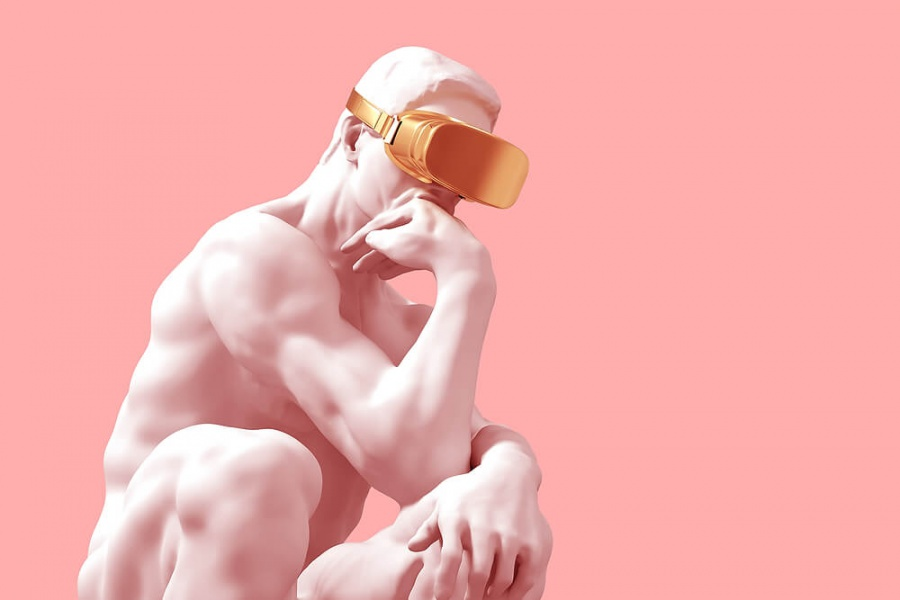 Sculpture Thinker With Golden VR Glasses Over Pink Background.