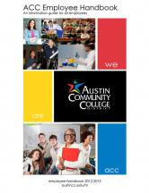 photo collage of employees and students cover for employee handbook