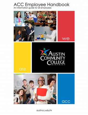 Royalty free stock images of higher education professionals. Booklet cover for Employee Manual at ACCD