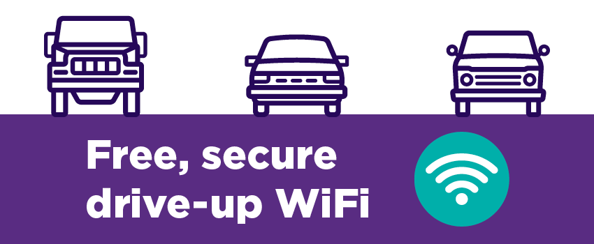 Free, secure drive-up Wifi