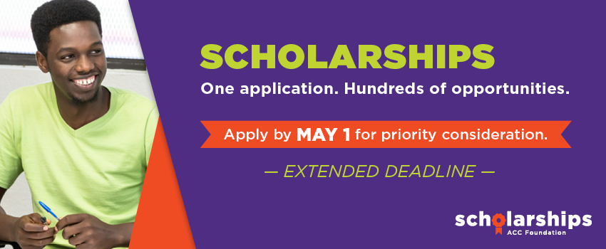 Scholarships. One application. Hundreds of opportunities. Apply by May 1 for priority consideration. Extended Deadline