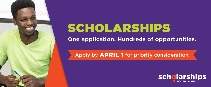 Scholarships. One application. Hundreds of opportunities. Apply by April 1 for priority consideration