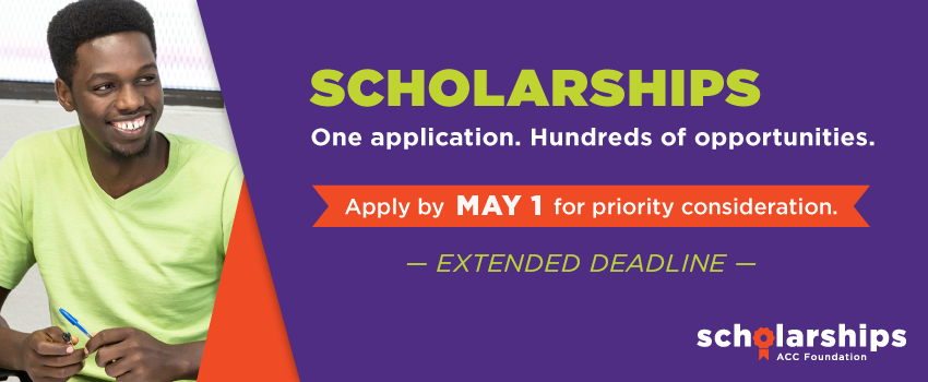 Scholarships. One application. Hundreds of opportunities. Apply by May 1 for priority consideration (extended deadline).
