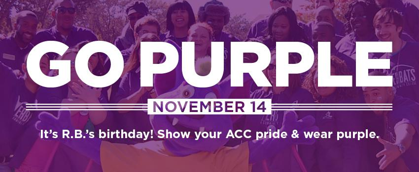 Go purple November 14. It's RB's birthday. Show your ACC pride and wear purple
