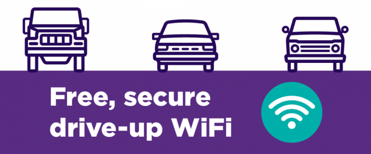 Free, secure, drive-up WIFI.