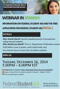Financial Aid/FAFSA Webinar in Spanish