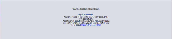 Wireless Network Logout Screen